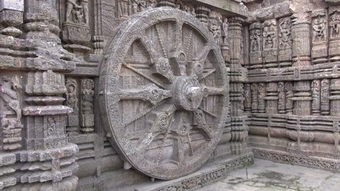 wheel in Konark Sun Temple, India. The temple was built in 13th century and is  Unesco world heritage site.