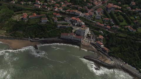 AERIAL France-Gu\x86\xA9Thary 2006: Biarritz looking north along coast v hotels and villas