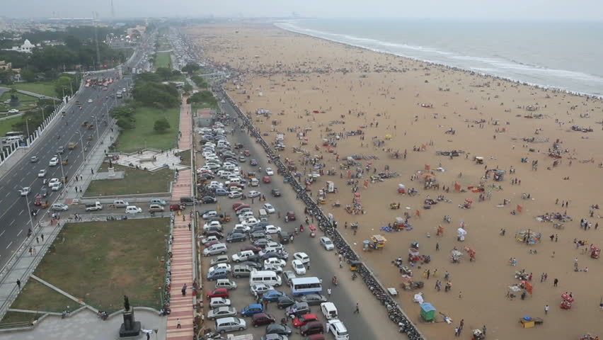 Aerial view of weekend crowds on Marina Beach in Chennai, India