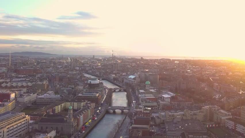 Dublin City Centre Sunrise Aerial - drone | Shutterstock HD Video #1005601849