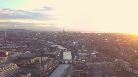 Dublin City Centre Sunrise Aerial - drone