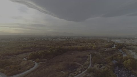Aerial shot of Las Vegas from the desert