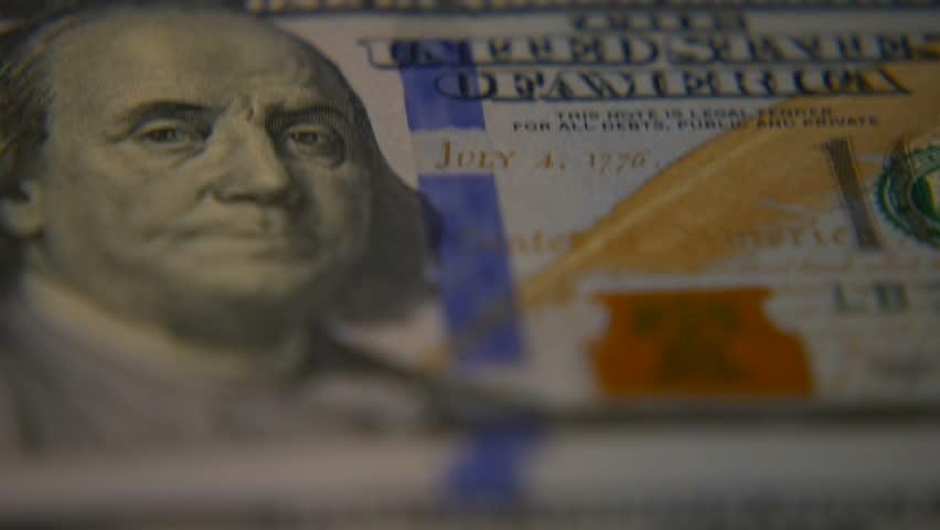 Dollar bills close-up. Macro photography of bank notes.  | Shutterstock HD Video #1005618229