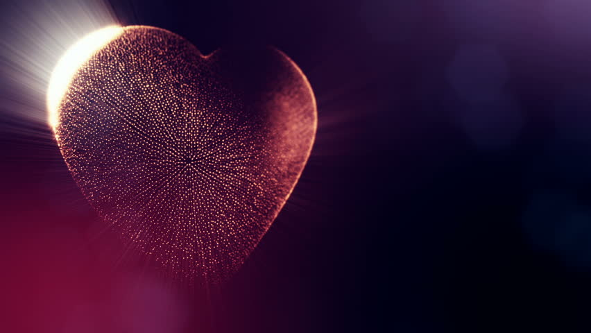 Red heart for valentines day or wedding background as seamless footage with depth of field and bokeh on dark background. Loop 3d animation of glow particles form 3d red heart .