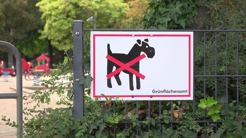 Dog not allowed in park sign in Germany 4k