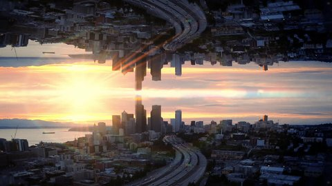 Abstract Mirror Aerial Hyperlapse Over Waterfront City at Sunset