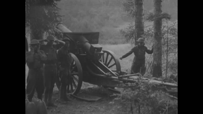 CIRCA - 1918 - Soldiers repeatedly fire a canon in Lorraine, France.