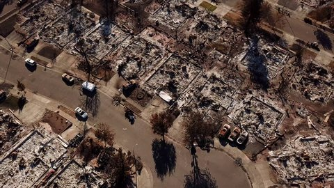 SANTA ROSA, CA - CIRCA 2010s - Shocking aerial of devastation from the 2017 Santa Rosa Tubbs fire disaster which destroyed whole neighborhoods.