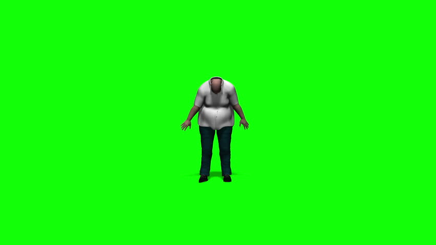 Fat Man Dancing/A funny fat guy is dancing in front of a green screen. Animation.