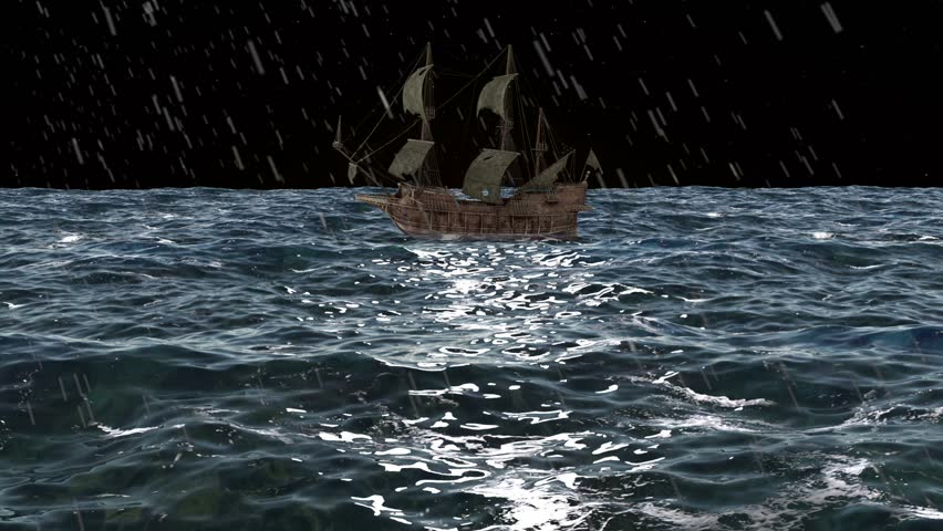 Animation Pirate Ship In The Night Ocean