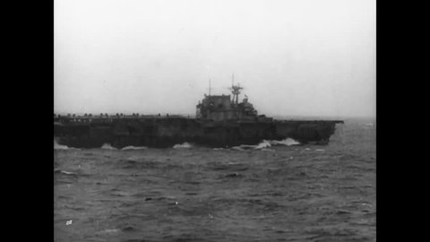 CIRCA - 1943 - The aircraft carrier Hornet carries 16 B-25 bomber planes to bomb Tokyo, Japan during WWII in the Doolittle Raid.