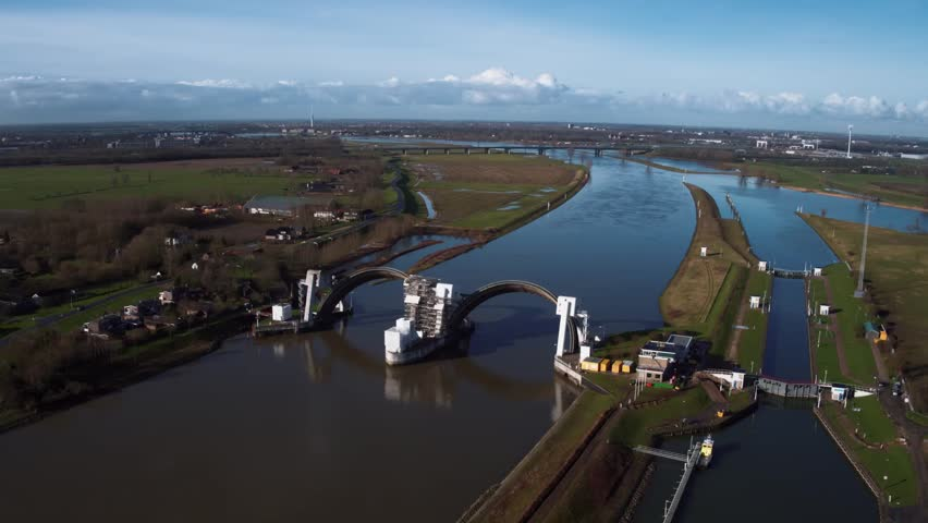 Aerial view at dam complex Hagestein (river Lek), The Netherlands. Shot by drone on a sunny winterday.
