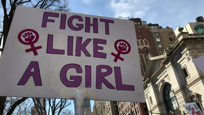 Women's march_2018__new york city_fight like a girl sign  | Shutterstock HD Video #1006687009