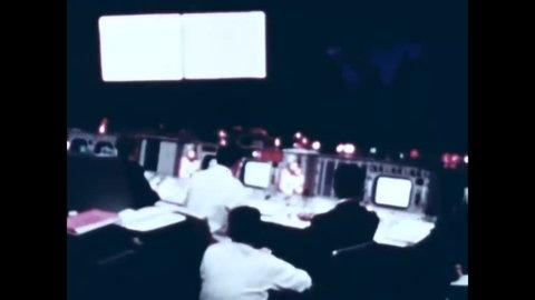 CIRCA 1967 - Space flight centers across America are shown tracking Apollo flights.