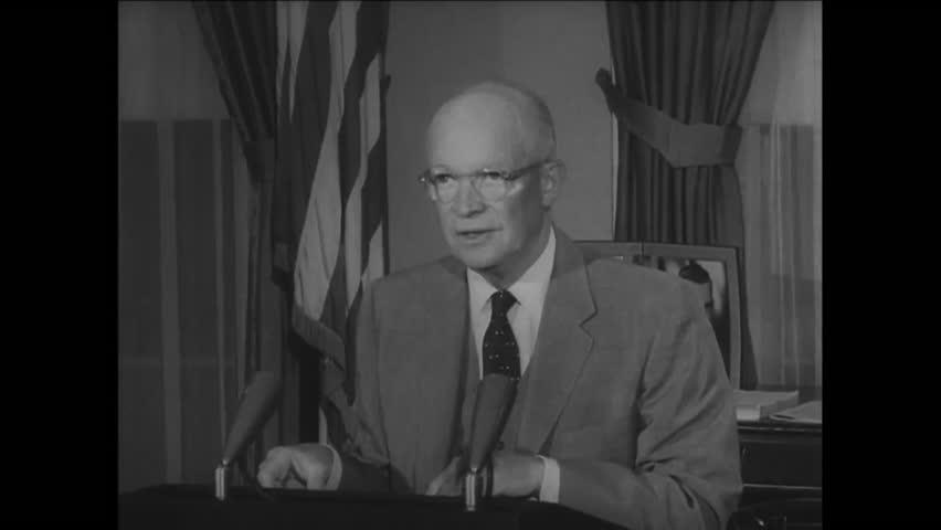 CIRCA 1957 - President Eisenhower explains that racist incidents in Little Rock, Arkansas are damaging America's reputation across the world.