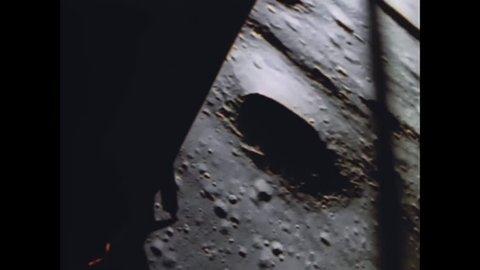 CIRCA 1969 - Pete Conrad and Alan Bean in the Intrepid lunar module land on the moon.