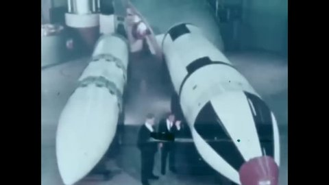 CIRCA 1971 - The Poseidon and Polaris submarine-launched ballistic missiles are shown.