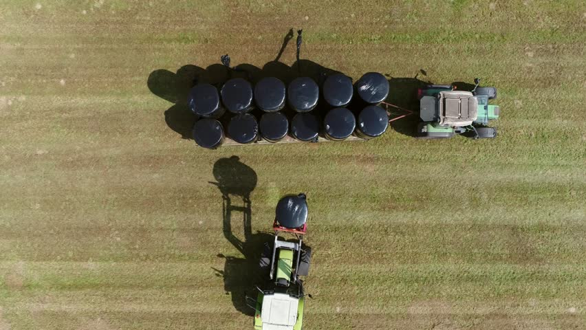 Aerial top-down view of farmers working together picking up plastic wrapped bales with animal fodder inside which will be moved to the farm stables and will be used as winter food for livestock 4k