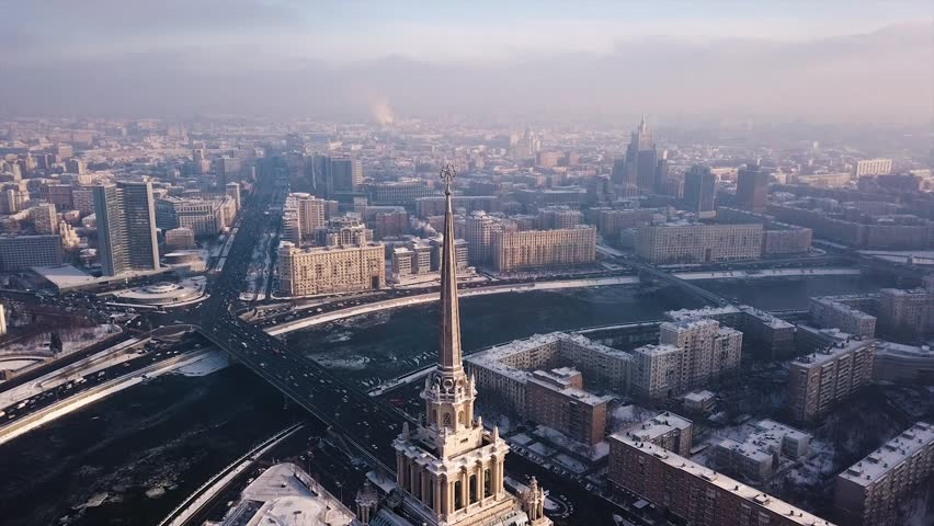 Frozen winter Moscow Aerial view. Top of Stalin Skyscraper