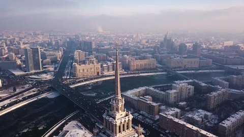 Frozen winter Moscow Aerial view. Top of Stalin Skyscraper