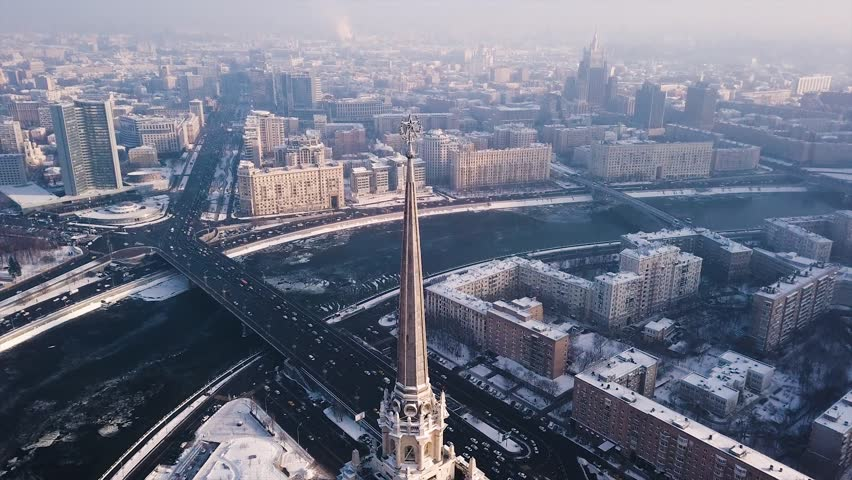 Stalin skyscraper in winter Moscow aerial view
