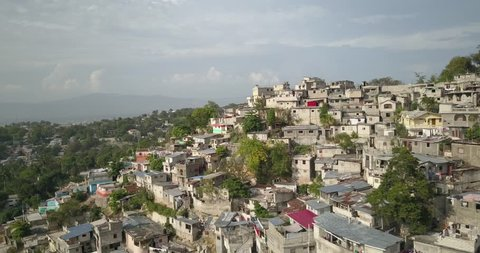 Aerial drone view of colored houses in Port au Prince, Haiti