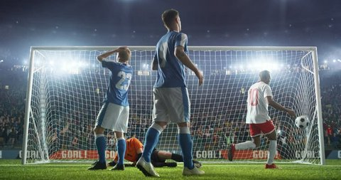 Soccer player scores a goal and runs happily with the ball. Stadium and crowd are made in 3D and animated