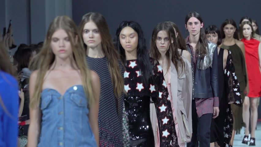 KYIV, UKRAINE - FEBRUARY 7, 2017. Ukrainian Fashion Week. Models walk on the catwalk. Slow motion | Shutterstock HD Video #1006750519