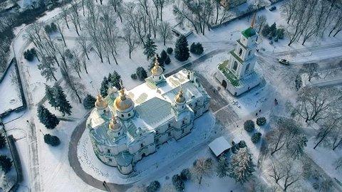 Aerial view on Poltava city, Ukraine. Winter footage with snow