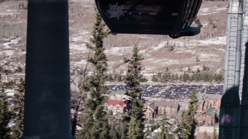 Colorado, USA-November 26, 2017. POV point of view - Ski gondola to the top of the mountain.