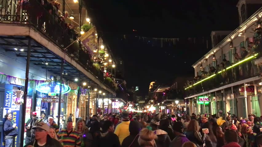 NEW ORLEANS - FEBRUARY 2016: Mardi Gras parade at night. This is a major carnival event in New Orleans.