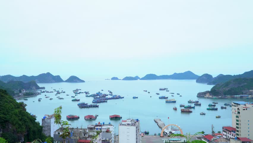 A panorama of a beautiful bay in Vietnam. Panoramic landscape view of Cat Ba City of Cat Ba Island, Vietnam. Cat ba. Cat ba Island.