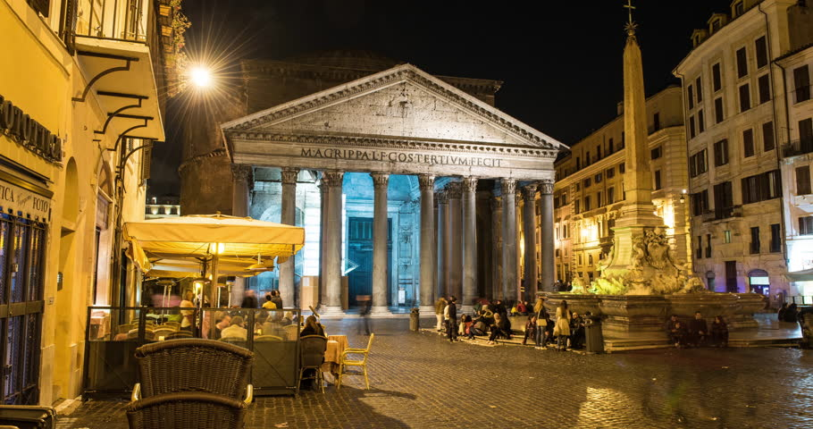 ROME, ITALY – OCTOBER 2015 : Moving timelapse / hyperlapse of Panthéon at night | Shutterstock HD Video #1006794229