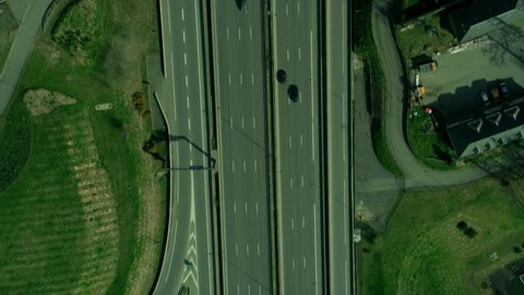 4K Aerial view of traffic on intersection of highways in the French countryside