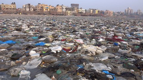 MUMBAI, INDIA - NOV 17: Alarming quantity of plastic garbage and other pollution at Versova Beach on November 17, 2017 in Mumbai, India