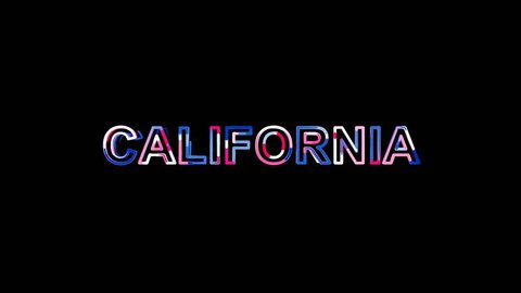 State Name CALIFORNIA from letters of different colors appears behind small squares. Then disappears. Alpha channel Premultiplied - Matted with color white