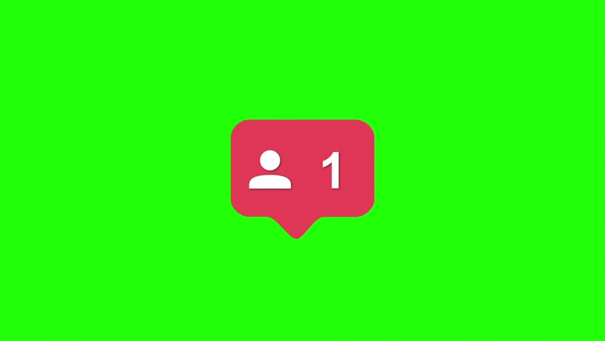Instagram Red Icon Followers Counter Notification Green Screen 3D Rendering Animation