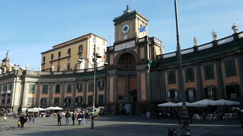 NAPLES - January 03 2018: Piazza Dante is a large public square in Naples, Italy, named after the poet Dante Alighieri. The square is dominated by a 19th-century statue of the poet Dante