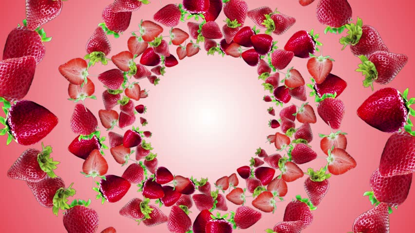 Falling Strawberries Ring Background, Loop, with Alpha Channel, 4k  | Shutterstock HD Video #1006914799