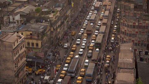 Kolkata, India - April 13, 2017: Kolkata city traffic jam on crowded street into the downtown.