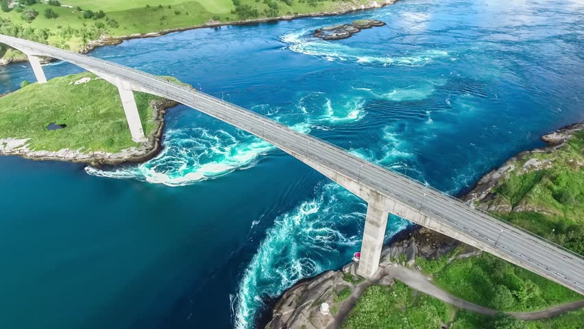Whirlpools of the maelstrom of Saltstraumen, Nordland, Norway aerial view Beautiful Nature. Saltstraumen is a small strait with one of the strongest tidal currents in the world.