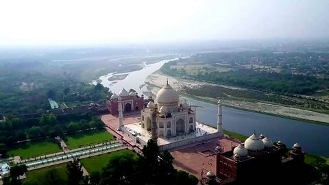 agra - india, february 2017. aerial taj mahal shot by drone