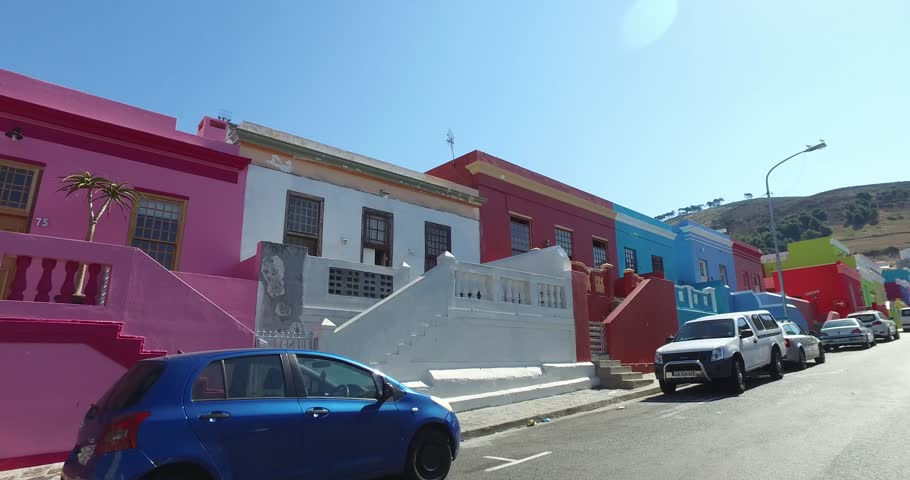 Car mount tracking in the streets of colorful buildings neighbourhood Bo-Kaap Cape Town South Africa | Shutterstock HD Video #1007009869