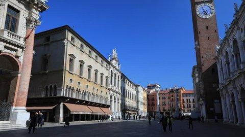 Vicenza, Italy - February 2018: Signori square Vicenza