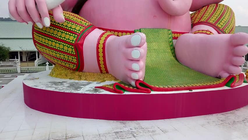 Pink Statue of Ganesha the Elephant Hindu Deity in Nakhon Nayok Thailand