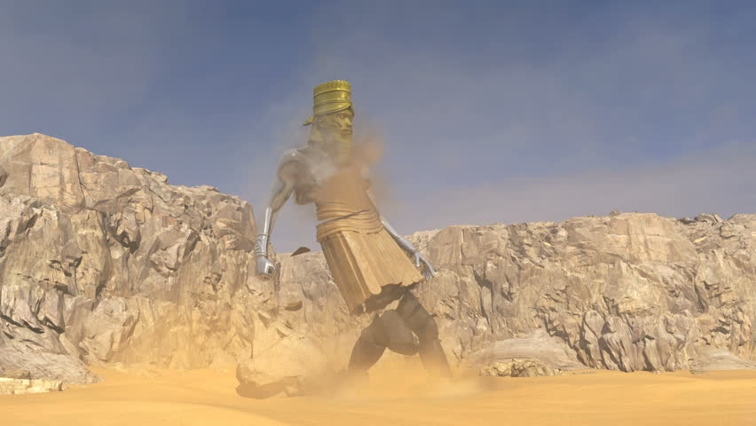 3D animation of Nebuchadnezzar's Statue from his dream that the Prophet Daniel interprets for him. Part 2. The Rock that is cut out without human hands strikes the Statue on the feet destroying it.