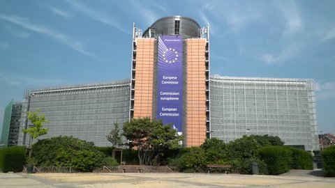Brussels, Belgium - 30 August 2016:EU Commission official Parliament building in Brussels capital city of Belgium.  Front of the Berlaymont building (European Commission)  Editorial