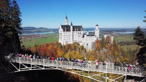 Flight over Queen Mary's Bridge (Marienbrucke) to Neuschwanstein Castle, Bavaria, Germany.
