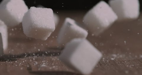 Sugar cubes falling super slow motion shot on Phantom Flex