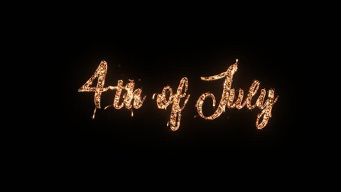 4th of July greeting text with particles and sparks isolated on black background, beautiful typography magic design.